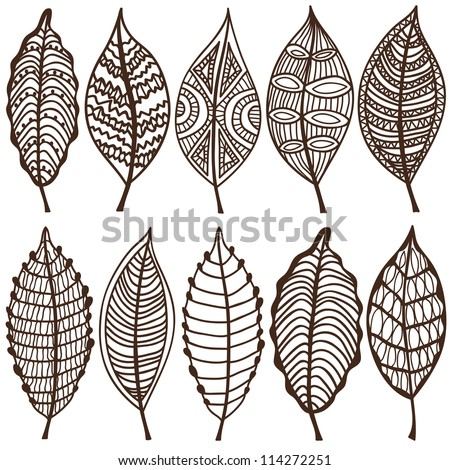 Collection of leaves. Vector set. Sketches - stock vector