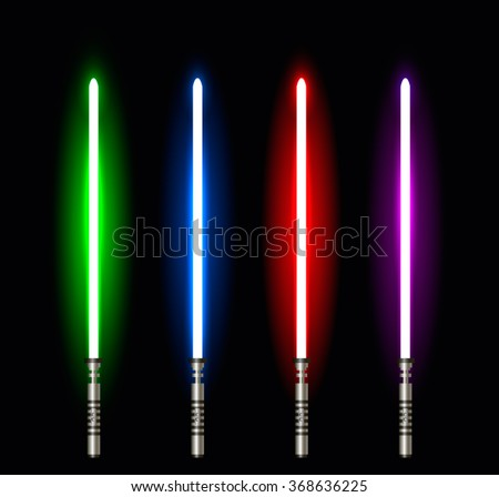 Collection of Light Futuristic Swords. Design Elements for Your Projects. Vector illustration. - stock vector