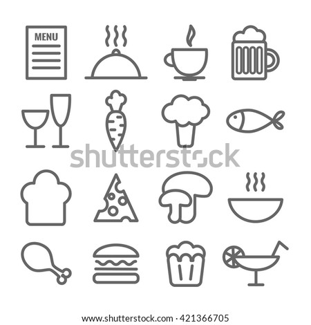 Collection of linear food icons. Thin restaurant icons for web, printing, mobile apps