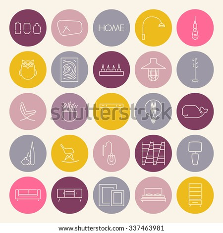 Collection of 25 linear icons of Interior elements.Round furniture stickers.Accessories,Furniture,Laps. Template for catalog,website, background.Loft style.Trendy colors.Vector.Isolated - stock vector