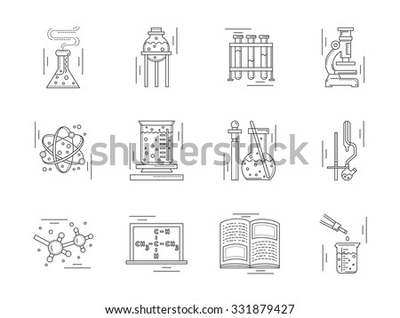 Collection Linear Vector Icons Signs Chemistry Stock Photo Photo