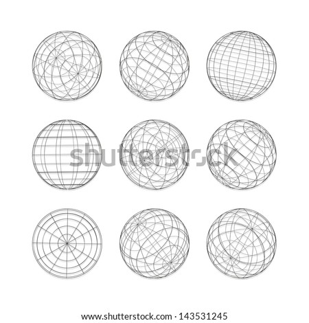 Collection of lines ball vector template. Abstract globe logo symbol, isolated round icon, business concept .You can use science and technology, tourism, financial or environmental background. - stock vector