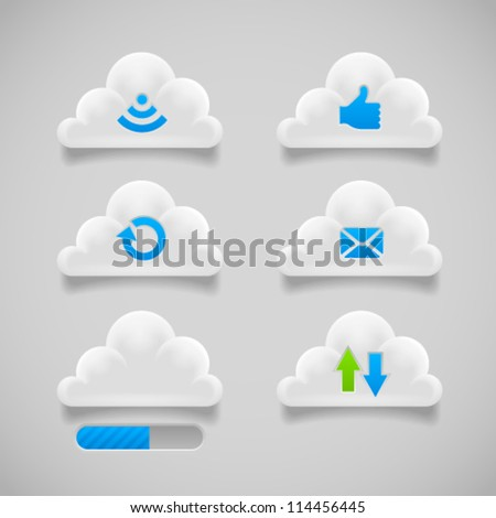 Collection of loading, reload, radio, email, like and progress bar cloud buttons. Image contains transparency - you can put them on every surface. 10 EPS - stock vector