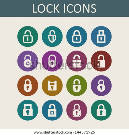 Collection of lock icons - stock vector