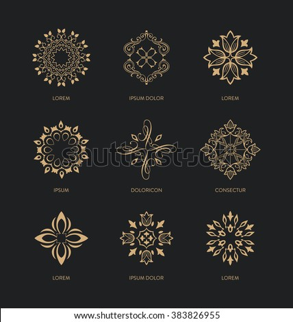 Collection of logo design templates and emblems - trendy linear style - golden colors on black background - Abstract Icon design Set - stock vector