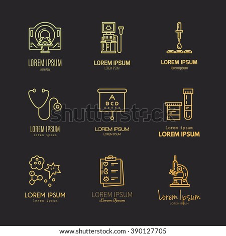 Collection of logos with different medical items and machines. Medical research and diagnostic. Label for lab, research center, MRI scan. - stock vector