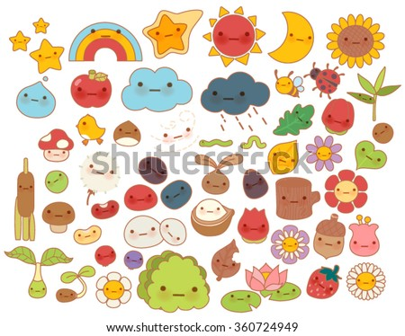 Collection of lovely baby forest nature doodle character icon ,cute star ,adorable flower ,sweet fruit ,kawaii rainbow ,girly bug ,comic apple in childlike manga cartoon style - Vector file EPS10 - stock vector