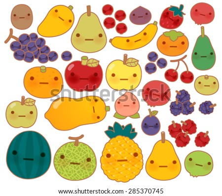 Collection of lovely baby fruit and vegetable doodle icon , cute strawberry , adorable apple , sweet cherry , kawaii banana , girly mango  in childlike  manga cartoon style - Vector file EPS10 - stock vector
