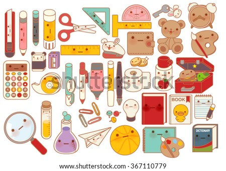 Collection of lovely baby stationery character doodle icon , cute pencil  , adorable teddy bear doll , sweet lunchbox , kawaii book , girly pen in childlike manga cartoon style - Vector file EPS10  - stock vector