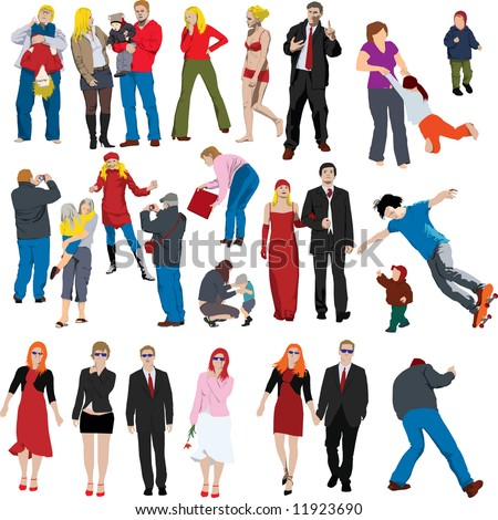 Collection of many people colored vector illustrations - stock vector