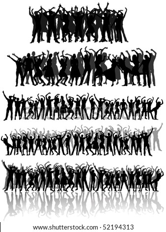 collection of many people group - stock vector