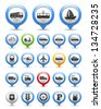 Collection of map markers with transport icons, vector eps10 illustration - stock vector