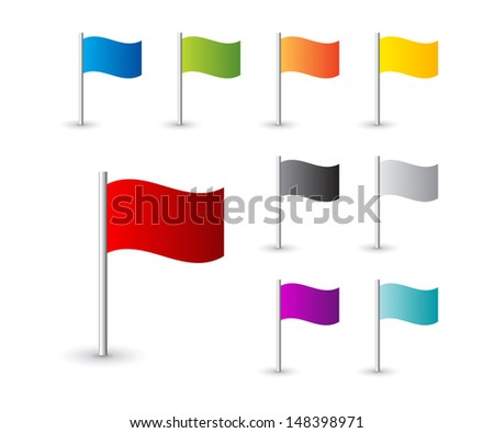 Collection Map Pin Flags Stock Photo Photo Vector Illustration - Flag pins for maps