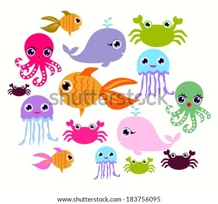 Collection of marine animals, Octopus, Goldfish, Whale, crab, Jellyfish vector file background - stock vector
