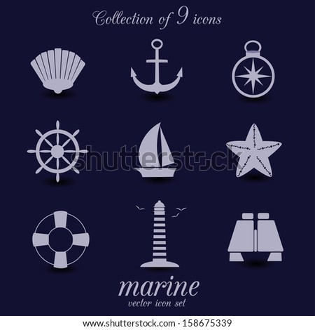 Collection of 9 marine icons. VECTOR illustration. - stock vector