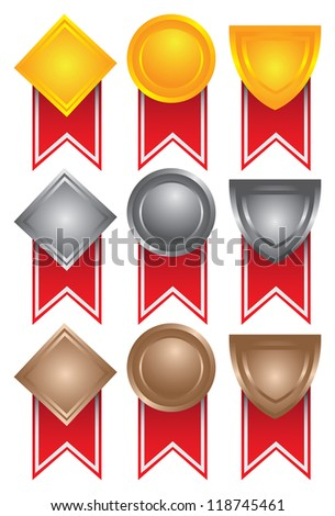 Collection of medals in gold, silver and bronze. Vector illustration - stock vector