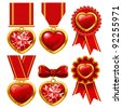 Collection of medals in the form of hearts - stock vector