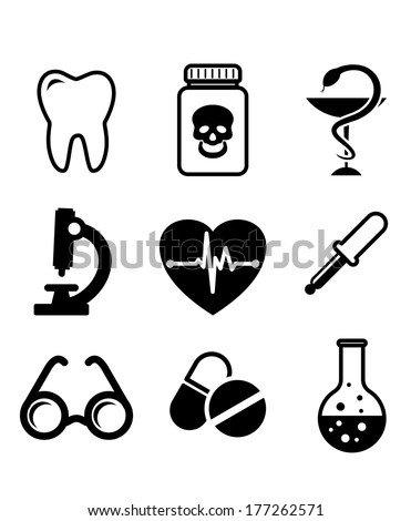 Collection of medical icons in black and white depicting dentistry, poison, microscope, heart with ECG, spectacles, dropper, and laboratory glassware - stock vector