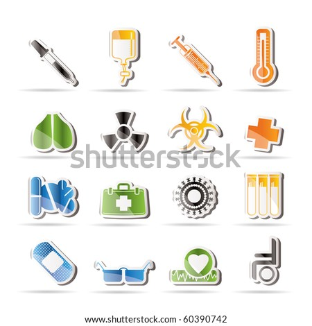 collection of  medical themed icons and warning-signs - Vector Icon Set - stock vector