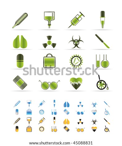 collection of medical themed icons and warning-signs vector icon set  - 3 colors included - stock vector