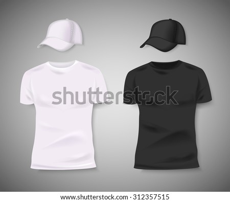 Collection of men black and white t-shirt and baseball cap front side. Blank design for corporate identity. Vector illustration. - stock vector