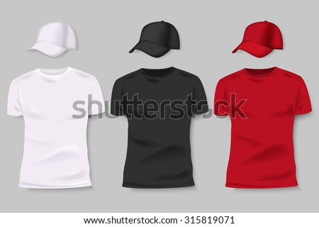 Collection of men black, white and red t-shirt and baseball cap front side. Blank design for corporate identity. Vector illustration. - stock vector
