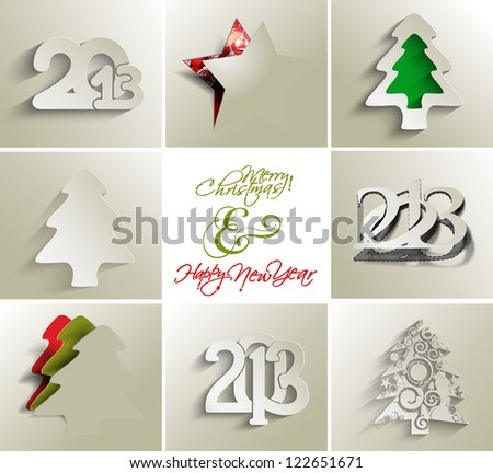 collection of merry christmas and new year 2013, vector - stock vector