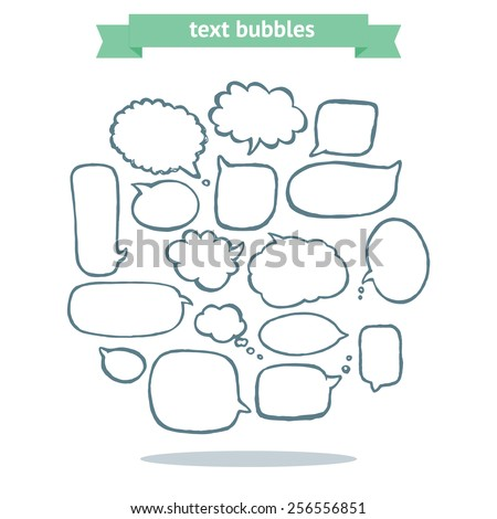 Collection of message balloons on white background. Vector set of hand drawn text bubbles. - stock vector