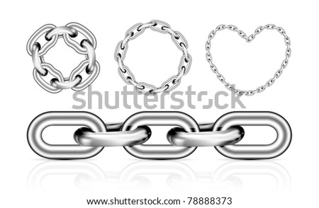 Collection of metal chain parts on white background. Vector illustration. Mesh tool used - stock vector