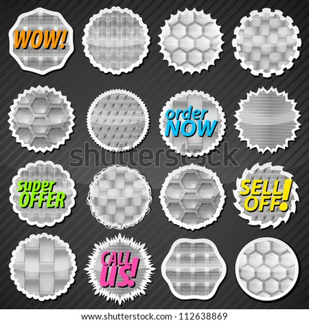 Collection of metallic glossy reflective eps10 round vector stickers in 16 different shape variations with eight kinds of metal textures - stock vector