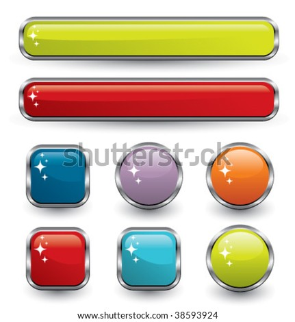Collection of metallic, silver, colored, glossy web elements. Good for internet applications, web sites, powerpoint presentations, search engines. - stock vector