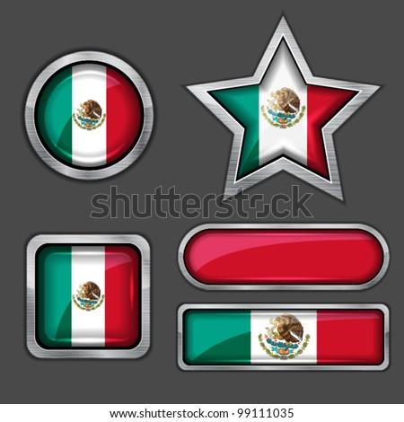 collection of mexican flag icons vector - stock vector