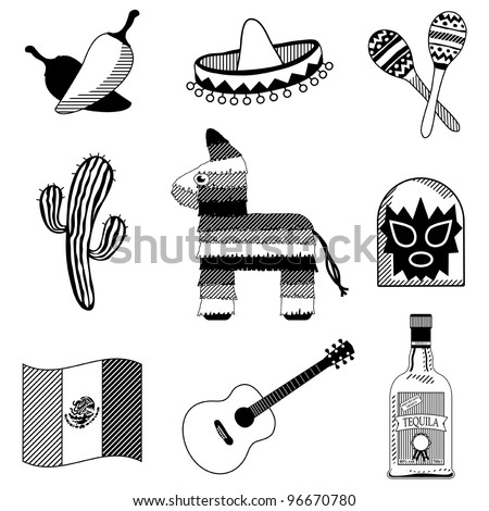 collection of mexican icons in black silhouette isolated on white - stock vector