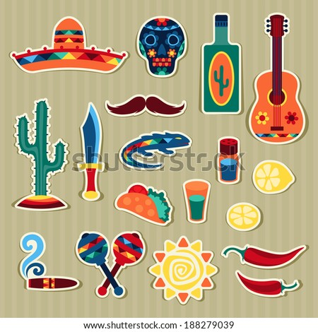 Collection of mexican stickers in native style. - stock vector