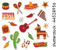 collection of mexican stickers isolated on white - stock photo