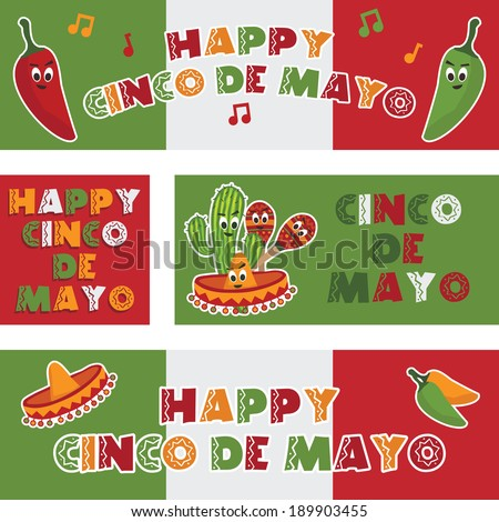 collection of mexican themed banners celebrating cinco de mayo - stock vector