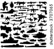 collection of military objects vector - stock vector