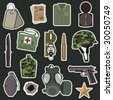 collection of military stickers - stock photo