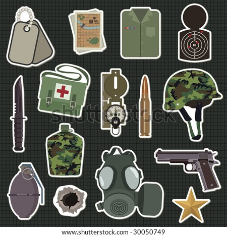 collection of military stickers - stock vector