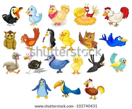 Collection of mixed cartoon birds on white - stock vector