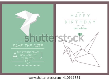 Collection of 2 modern card templates with origami crane and dove. Save the date and birthday cards. Stylish simple design. Vector illustration. Poster template. - stock vector