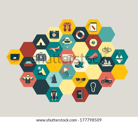 Collection of modern colorful flat icon. Set of holiday and traveling shapes. - stock vector