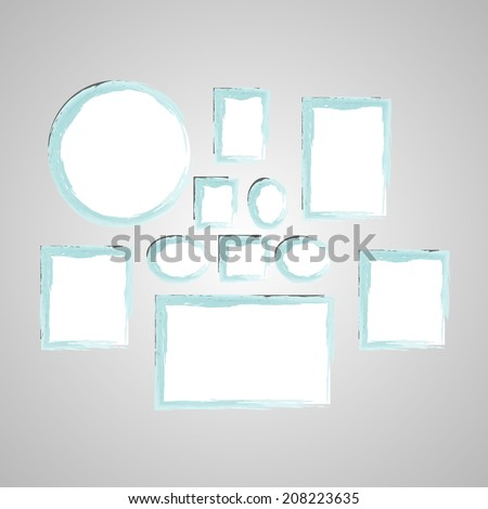 Collection of modern frames made with watercolor in vector. - stock vector