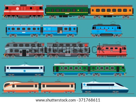 Collection of modern railway locomotives, passengers wagons and speed trains. Unique design. Vector illustration.