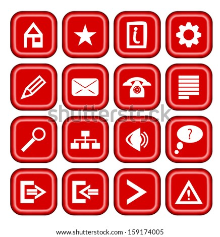 collection of modern red icons