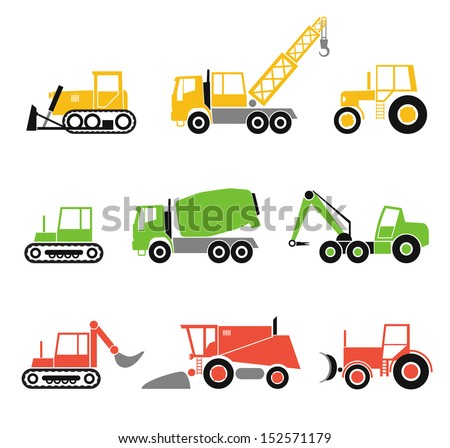 Collection of modern technics silhouettes - stock vector