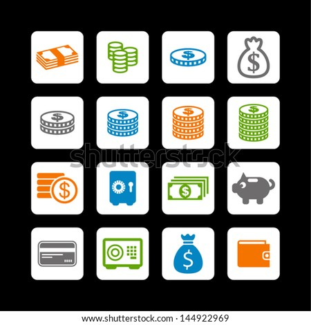 Collection of money icons - stock vector