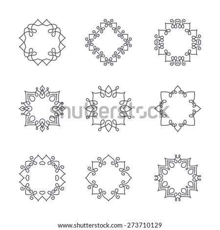 Collection of monochrome monogram design templates. Floral logo design element. Elegant ornamental abstract vector illustration. Outline emblems and badges. Hipster logotype templates.   - stock vector