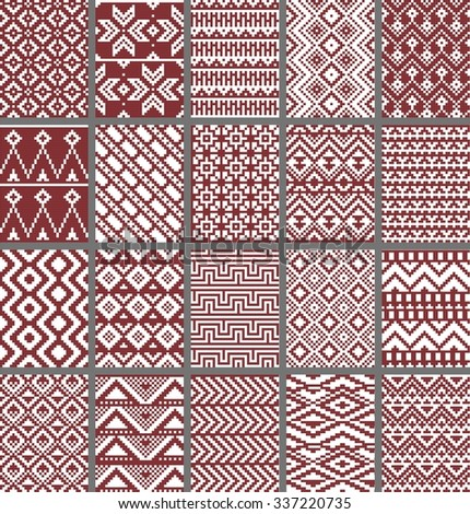 Collection of monochrome seamless pixel patterns in aztec geometric tribal style. Vector illustration. - stock vector