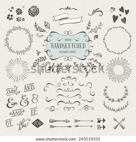 collection of more than 60 hand-sketched elements - florals, calligraphic elements, arrows, ampersands and catchwords, bursting rays, wreaths and much more - stock vector